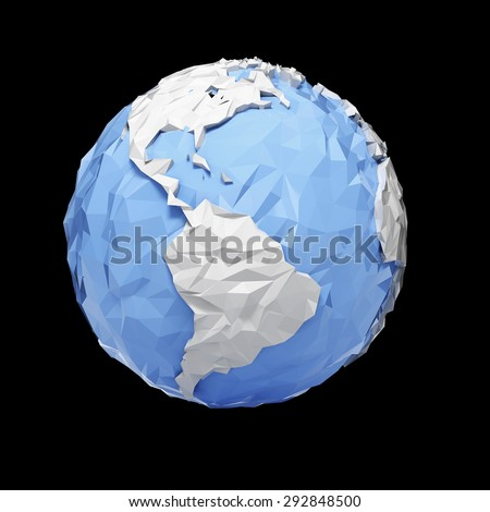 Planet Earth globe - America - isolated with clipping path - stock photo