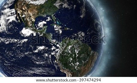 Planet Earth Globe Beaming - Central America (Elements of this image furnished by NASA)