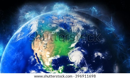 Planet Earth Globe Energy - North America (Elements of this image furnished by NASA) - stock photo