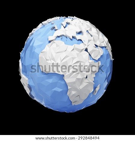 Planet Earth globe - Europe, Africa - origami style - isolated with clipping path - stock photo