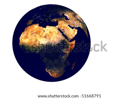 Planet earth globe illustration 3d render isolated - stock photo