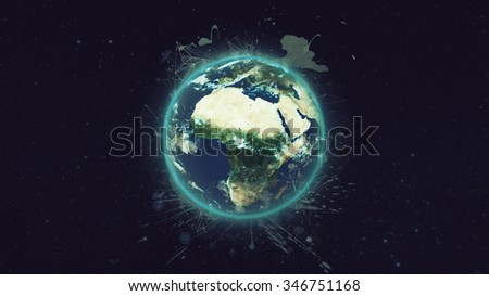 Planet Earth Globe Network Artwork. (Elements of this image furnished by NASA) - stock photo