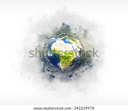Planet Earth Grunge Artwork (Elements of this image furnished by NASA.)