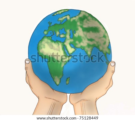 Planet Earth held  by human hands,  isolated illustration