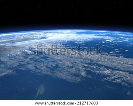 Planet earth horizon in space, elements of this image furnished by NASA- 3D render