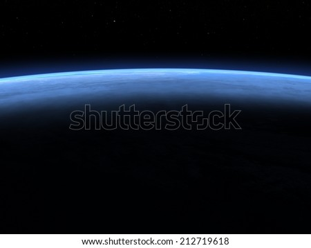 Planet earth horizon in space, elements of this image furnished by NASA- 3D render - stock photo