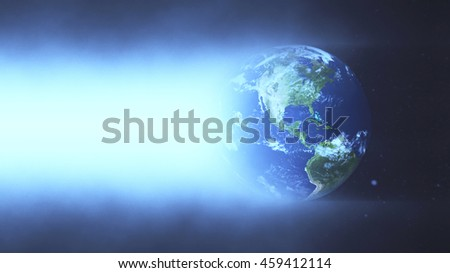 Planet Earth Illuminated Concept Background - America 3D Illustration (Elements of this image furnished by NASA)