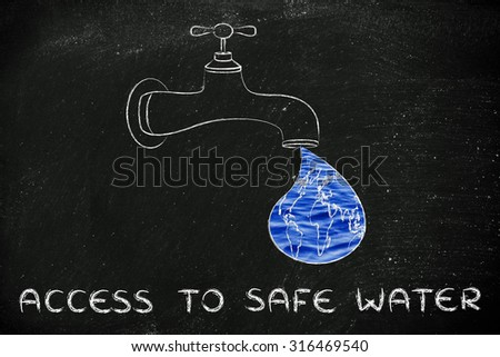 planet earth in a droplet from the tap (with ocean fill), illustration about giving access to safe water - stock photo