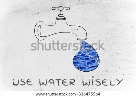 planet earth in a droplet from the tap (with ocean fill), illustration about using water wisely - stock photo