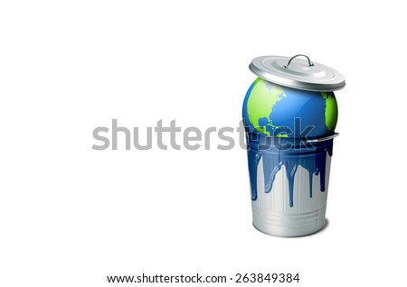 Planet earth in a garbage can with liquid flowing from it on an isolated white background - stock photo