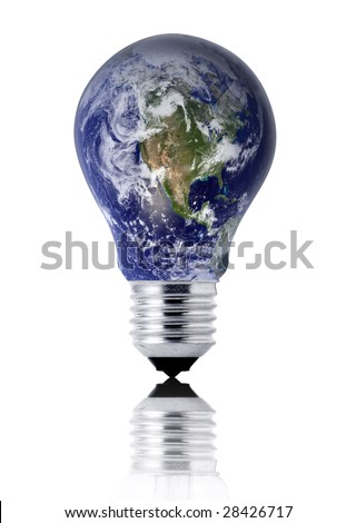 planet earth in a lightbulb (energy concept) - stock photo