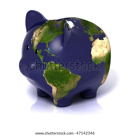 planet earth in a piggy bank form, isolated on a white background