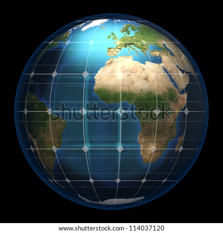 Planet earth in a spherical solar glass panel - isolated (Elements of this image furnished by NASA- earthmap  http://visibleearth.nasa.gov) - stock photo
