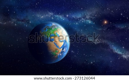 Planet Earth in deep space. Detailed view of European, African and Asian continent. Elements of this image furnished by NASA - stock photo