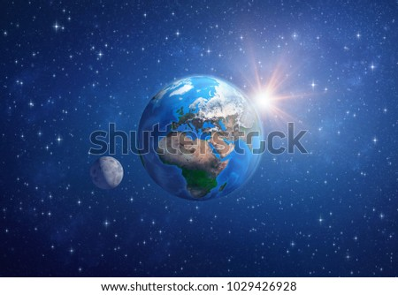 Planet Earth in deep space, focused on Europe, Africa and Asia, with the moon and the sun. 3D illustration - Elements of this image furnished by NASA.