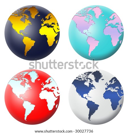 Planet Earth in four different colors. ideal for your icons or illustrations