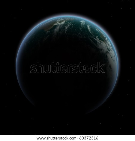 Planet Earth in shadow with beautiful glowing edge - stock photo