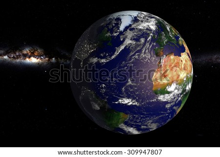 Planet Earth in Space: computer generated image of planet earth in space. Elements of this image furnished by NASA.
