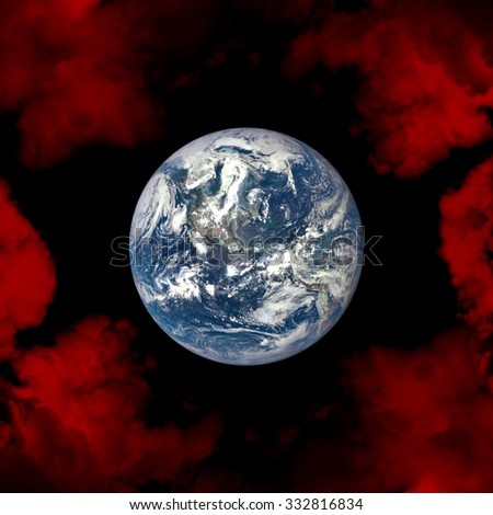 Planet Earth in space. Danger of global warming, climate change. Elements of this image furnished by NASA. - stock photo