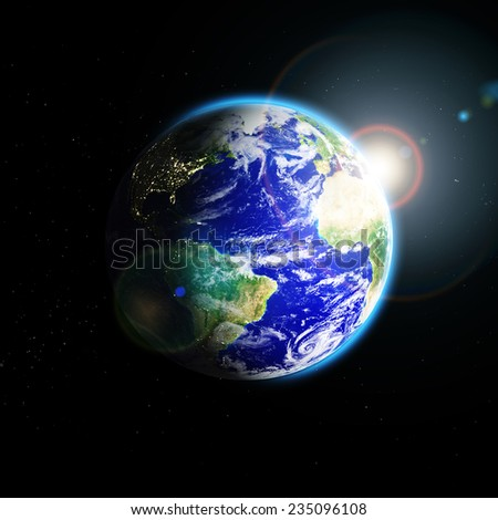planet earth in space . Elements of this image furnished by NASA  - stock photo