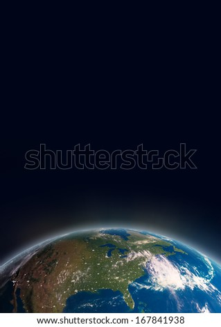 Planet Earth in space showing North America. - stock photo