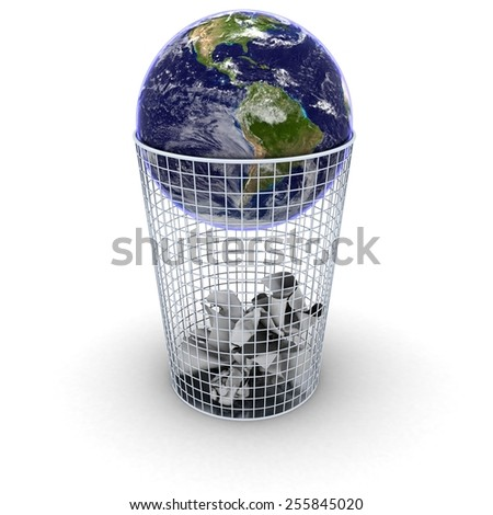 Planet Earth in the Bin - Elements of this image furnished by NASA - stock photo