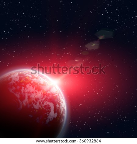 planet earth in the starry background,abstract - stock photo