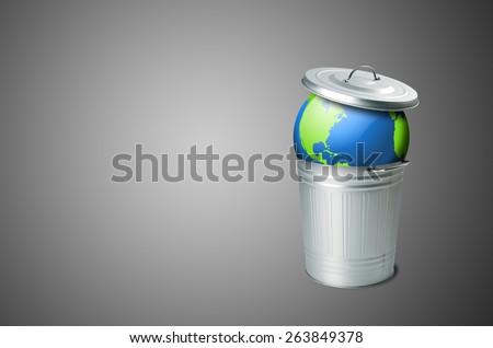 Planet Earth in the trash with colored liquid flowing. The problem of soil pollution - stock photo