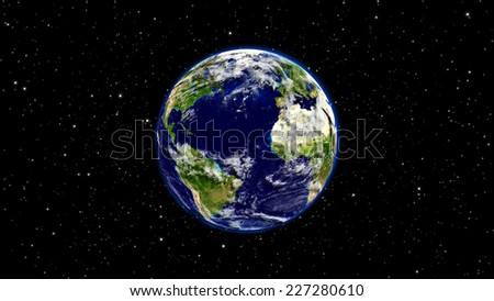 Planet Earth in universe or space, Earth and galaxy (Elements of this 3d rendered image furnished by NASA) - stock photo