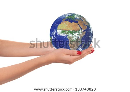 Planet Earth in woman hands. Elements of this image furnished by NASA