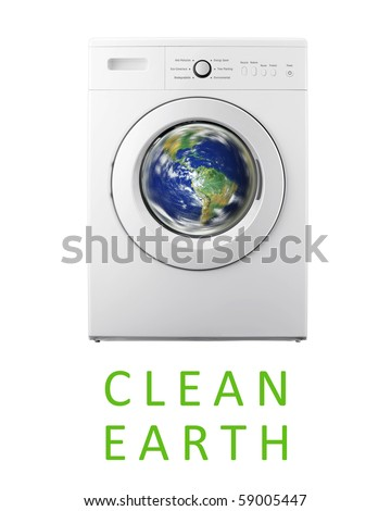 Planet earth inside washing machine - stock photo