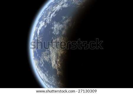 planet Earth isolated in black