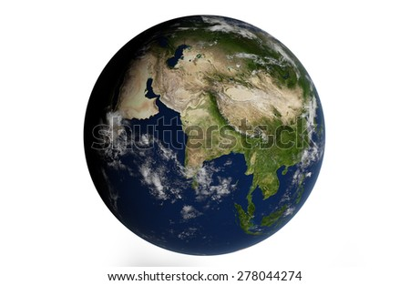 Planet Earth Isolated - India - 3D Globe - Elements of this image furnished by NASA - stock photo