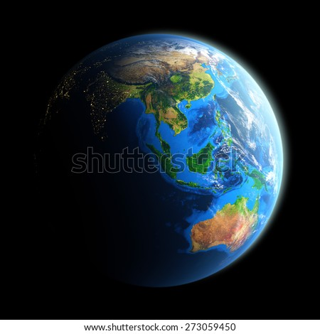 Planet Earth isolated on black. Detailed picture of the Earth, view of Asian and Australian continent. Elements of this image furnished by NASA