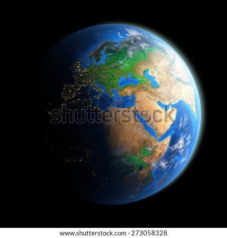 Planet Earth isolated on black. Detailed picture of the Earth, view of European, African and Asian continent. Elements of this image furnished by NASA - stock photo