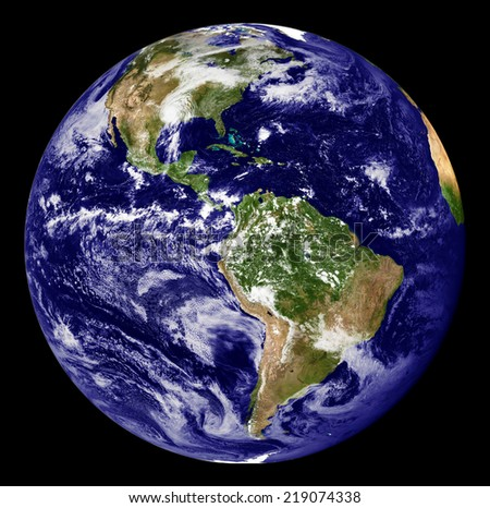 Planet earth isolated on black.Elements of this image are furnished by NASA  - stock photo