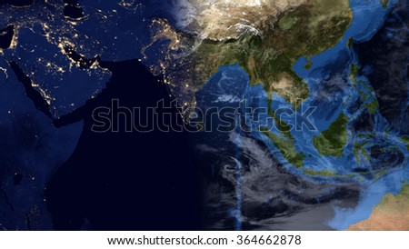 Planet Earth Map - India/Indonesia/Asia (Elements of this image furnished by NASA) - stock photo