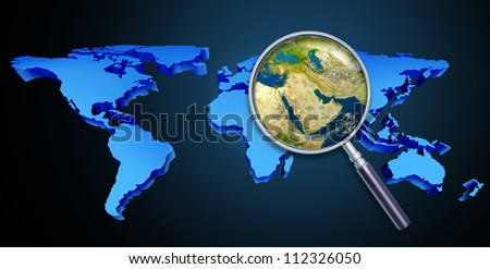 Planet earth middle eastern crisis with political issues of the persian gulf and crude oil with countries as Iran Israel Egypt Libya Kuwait Syria Saudi Arabia focused with a magnifying glass. - stock photo