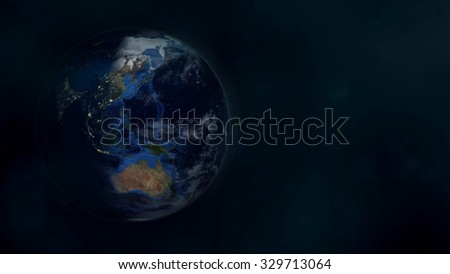 Planet Earth Morning 3D. Elements of this image furnished by NASA. - stock photo