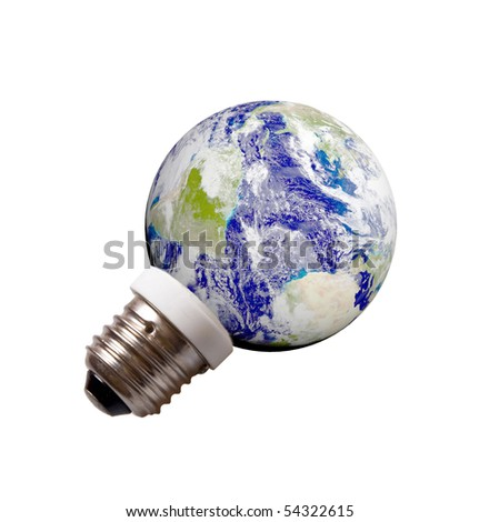 planet Earth on a pedestal like energy save lamp isolated on white background. Eco Energy concept - stock photo