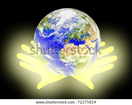 Planet Earth on palms