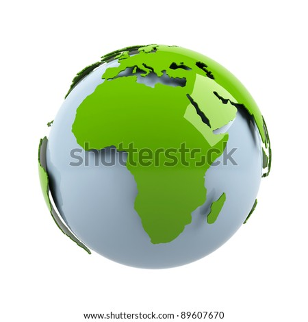 Planet earth on white background. - stock photo