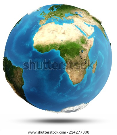 Planet Earth real relief and water. Elements of this image furnished by NASA