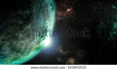 Planet earth rendered in detailed view from outer space.