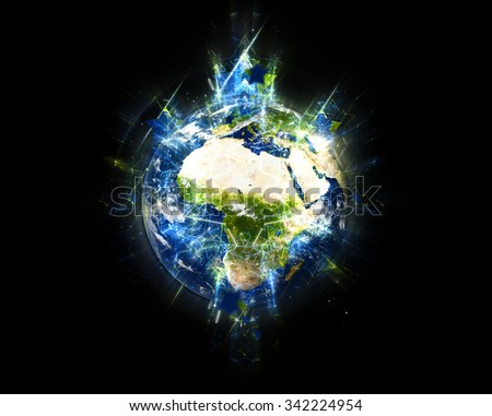 Planet Earth's Energy - Symmetrical Fractals Effect (Elements of this image furnished by NASA.)