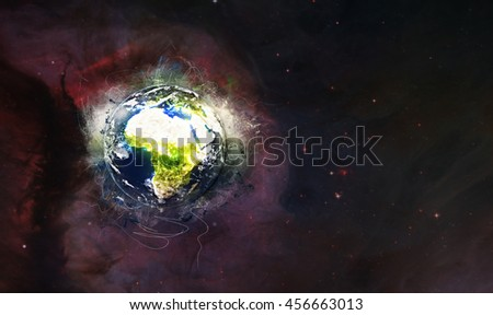Planet Earth's Galactic & Universal Artwork - Grunge Painting Style - Africa & Mediterranean (Elements of this image furnished by NASA)