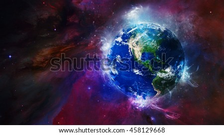 Planet Earth's Global Energy Fields Effect - Powerful International Concept Display - North America Beaming - 3D Illustration (Elements of this image furnished by NASA)