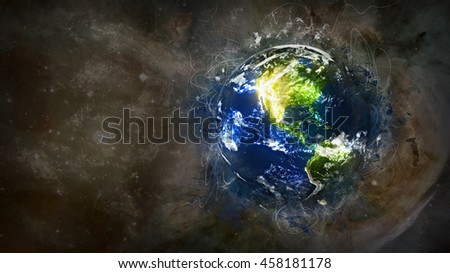 Planet Earth's Grunge Painting Artwork - Creative International Concept Display - North America 3D Illustration (Elements of this image furnished by NASA)