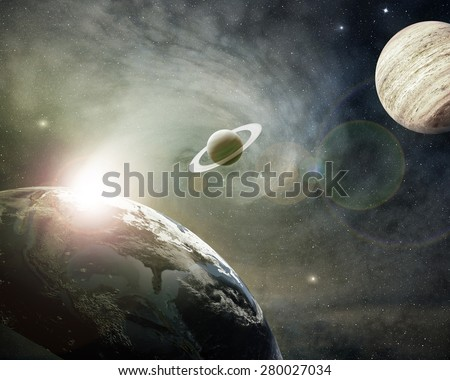 planet earth, saturn and jupiter in a cosmic cloud - Elements of this image furnished by NASA - stock photo
