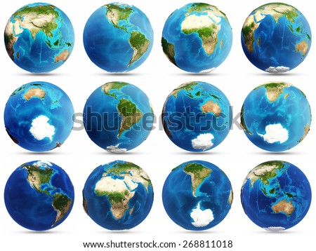 Planet Earth set. Elements of this image furnished by NASA - stock photo